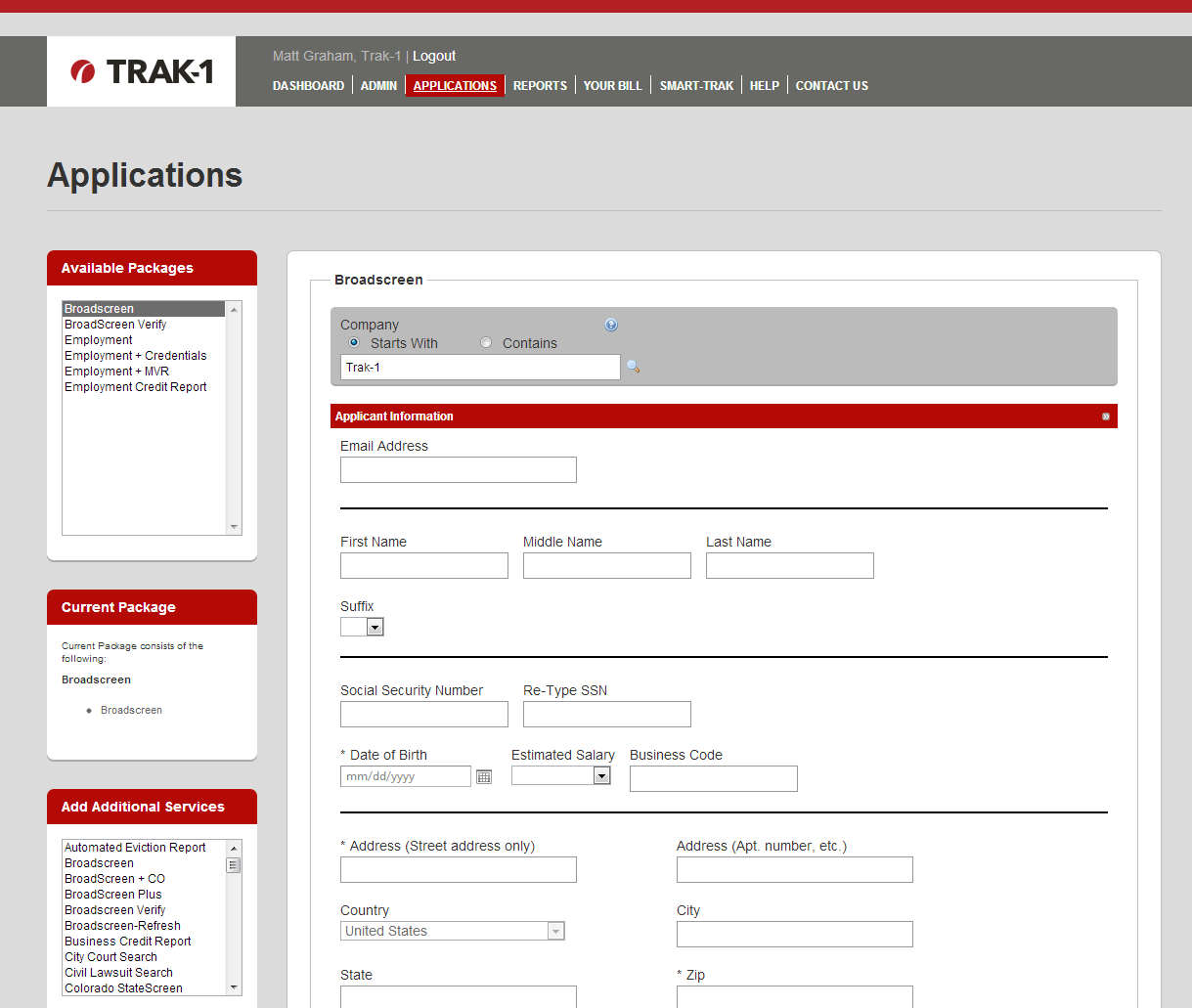 Applications Page